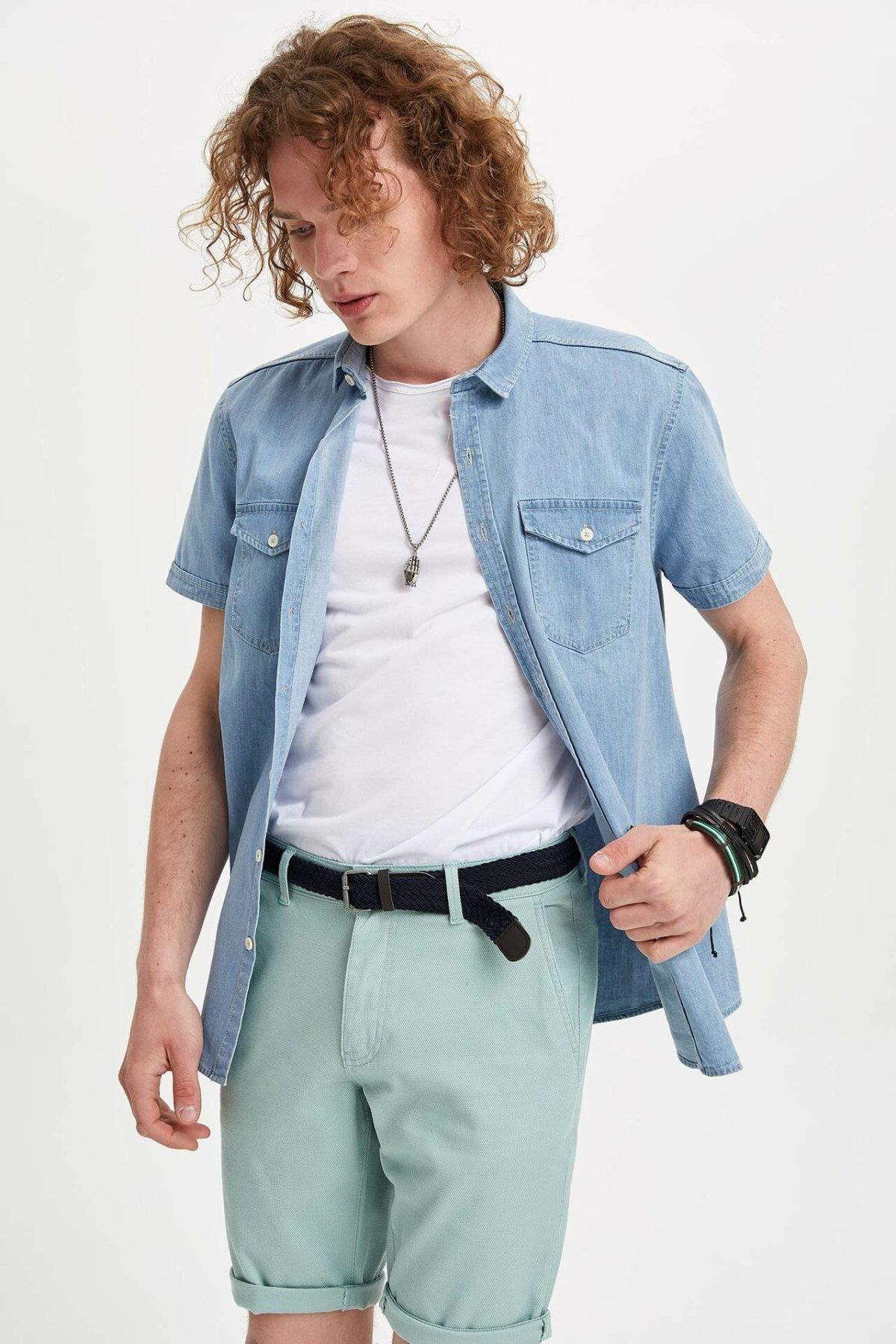 DeFacto Men Fashion Simple Solid Shirts Denim Short Sleeve Shirts Men Casual Lapel Collar Casual Shirt Tops New - K2049AZ19SM-K2049AZ19SM