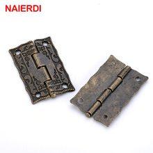 NAIERDI – Mini charnière décorative en Bronze Antique, pour porte, tiroir, armoire, rangement de bijoux, boîte en bois, quincaillerie de meubles, 10 pièces