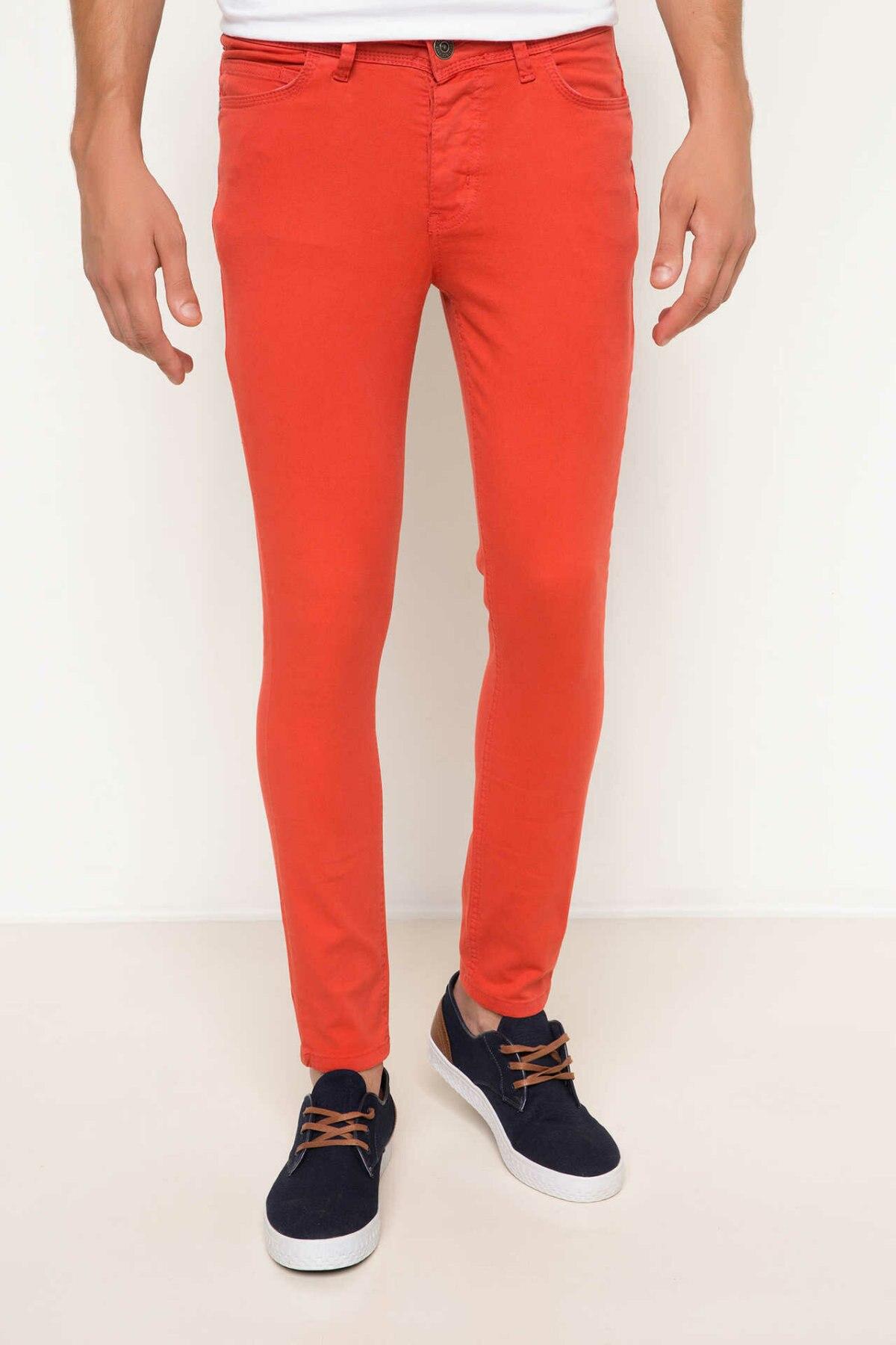 DeFacto Man Fashion Skinny Trousers Male Bright Color Casual High Quality Leisure Long Pants For Men's Autumn - H8636AZ17HS
