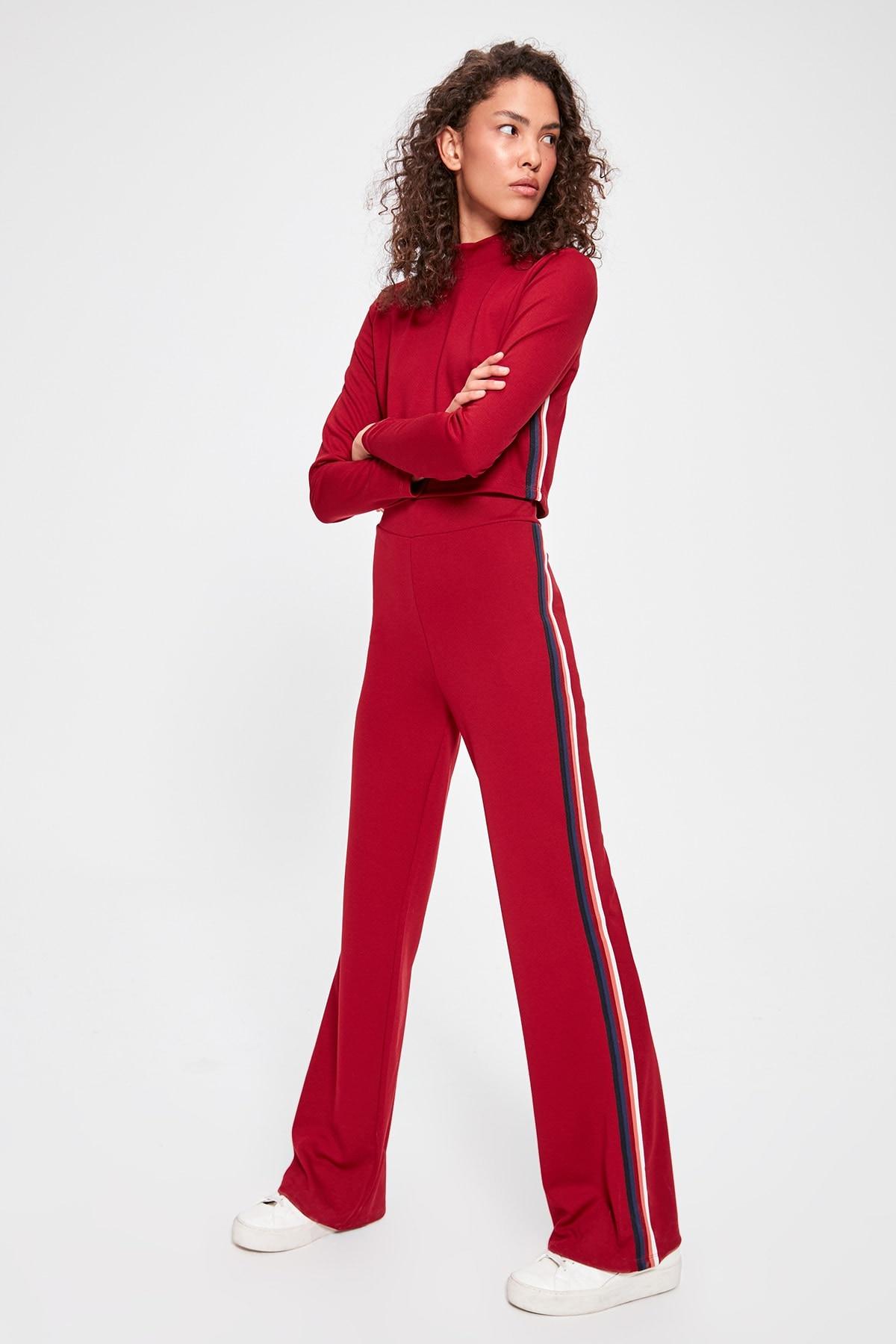 Trendyol Burgundy Knitted Ribbon Pants TWOAW20EA0010
