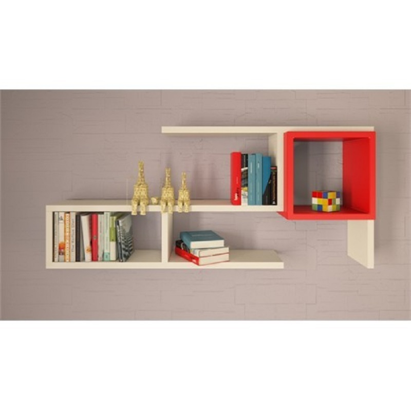 Shelf&Shelf MADE IN TURKEY Modern Shelf White Red Living Room Wood Wall Book Holder Organizer Bookshelf Rack Bookcase
