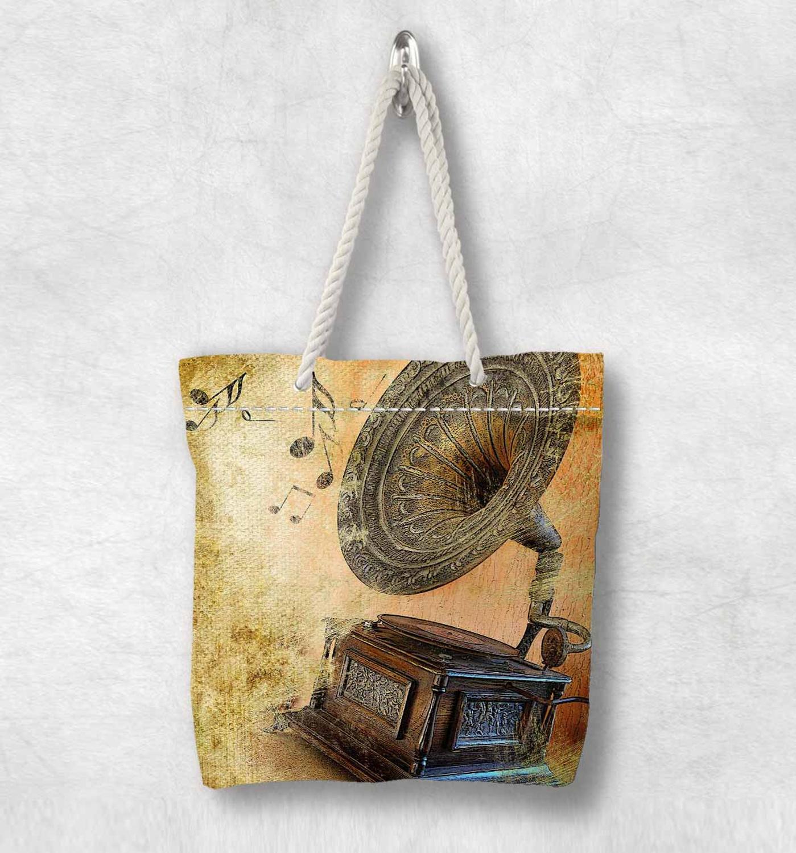 Başka bir Vintage kahverengi müzik gramofon notlar yeni moda beyaz halat kolu kanvas çanta pamuk kanvas fermuarlı Tote çanta omuzdan askili çanta