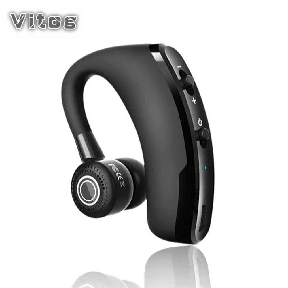 VITOG V9 Wireless Bluetooth Earphone Ear Hooking Headphone Control Button Headsets Noise Cancellation With Mic Handfree Earbuds
