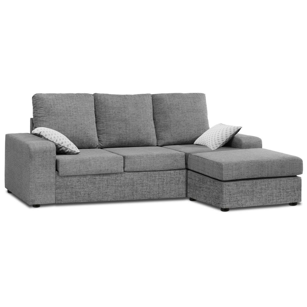 Sofa ChaiseLongue, Mounted, 3 Seater, Color Grey, Fabric Stain Ref-54