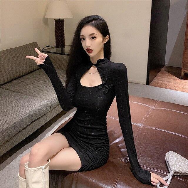 Retro little black dress 2021 new summer salt, sweet taste, design sense, little shoulders, dress girl 21x 2