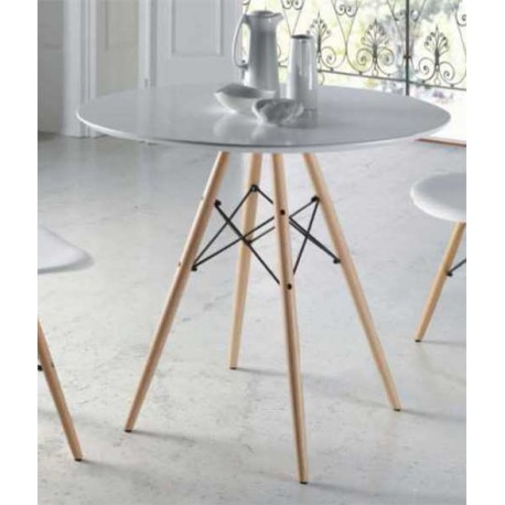 Dining Table Modern Round White Lid Legs Has
