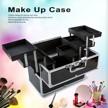 Caja organizadora de cosméticos grande, conjunto de herramientas cosméticas de maquillaje, herramientas de maquillaje con cerradura negra que contiene caja de almacenamientorizador de pestañas