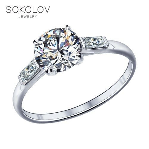 SOKOLOV Engagement Ring With Cubic Silver Fashion Jewelry 925 Women's Male