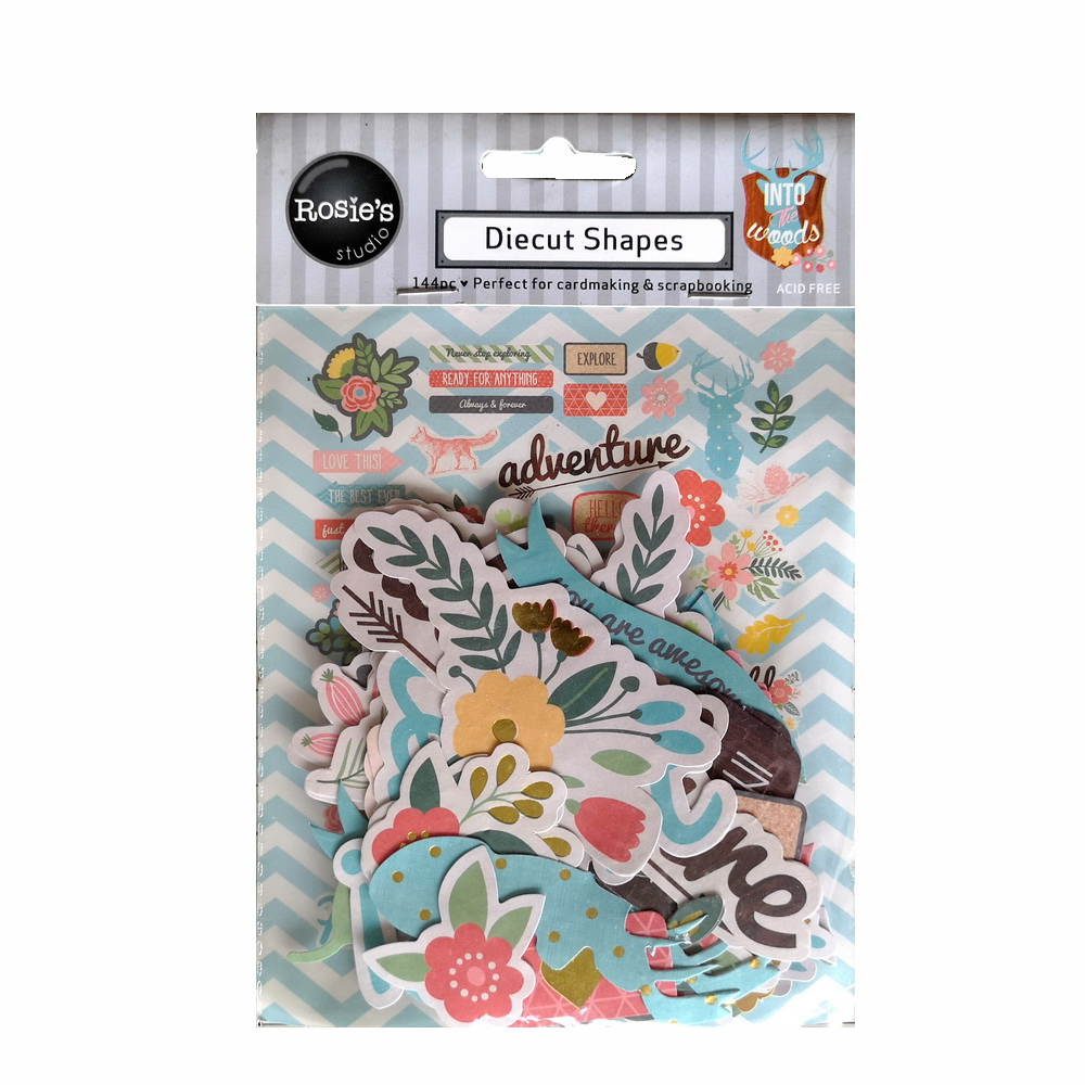 CRZCrafter Paper Diecuts Shapes 144pcs Printed Foil Design For Scrapbooking Cardmaking Journal Embellishments