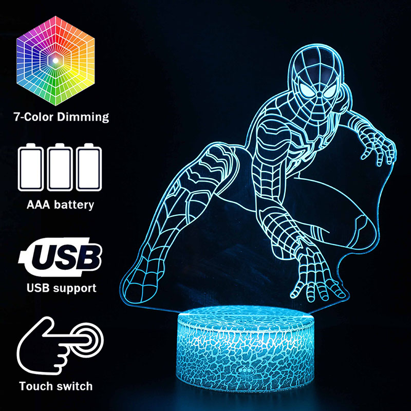 Superhero Night Lights Spiderman Model Touching LED Lamps Kids Bedroom Decoration Spider-man Lights With Remote Control
