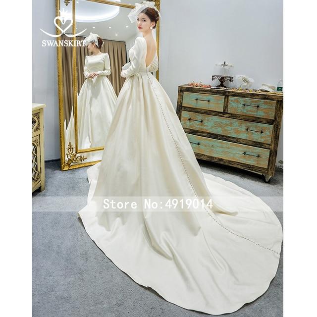Long Sleeve Satin Wedding Dress SwanSarah Vintage Backless Princess A-Line Court Train Bride Grown Button Vestido De Noiva I195 5