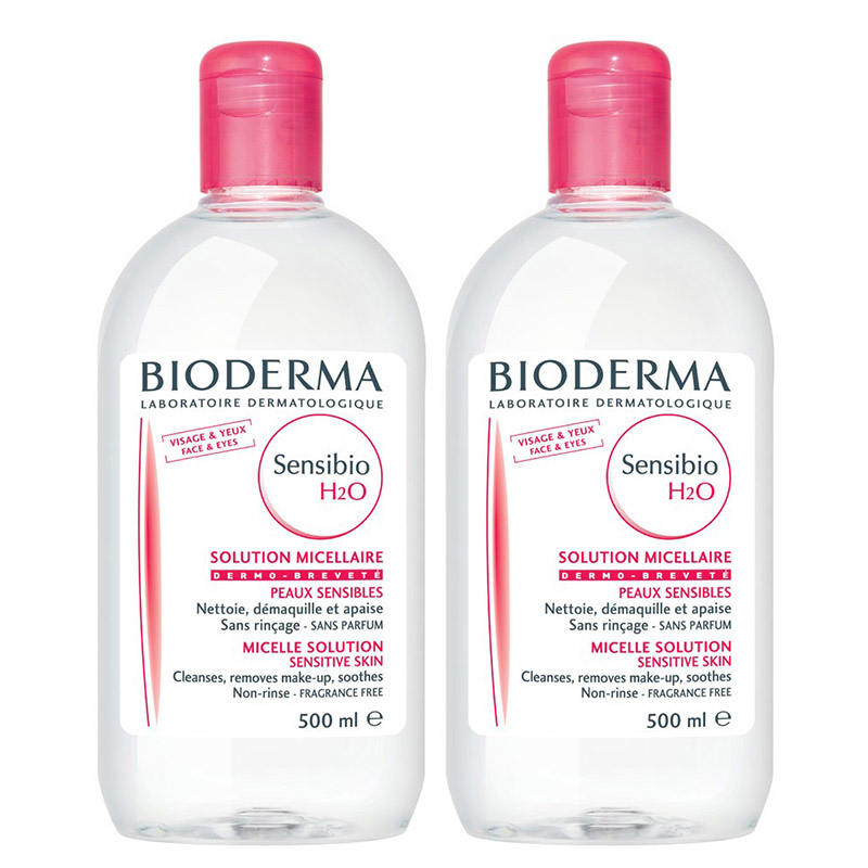 SET OF 2  Bioderma Sensibio H2O Micellar Solution 500ml + 500 Ml Best Quality