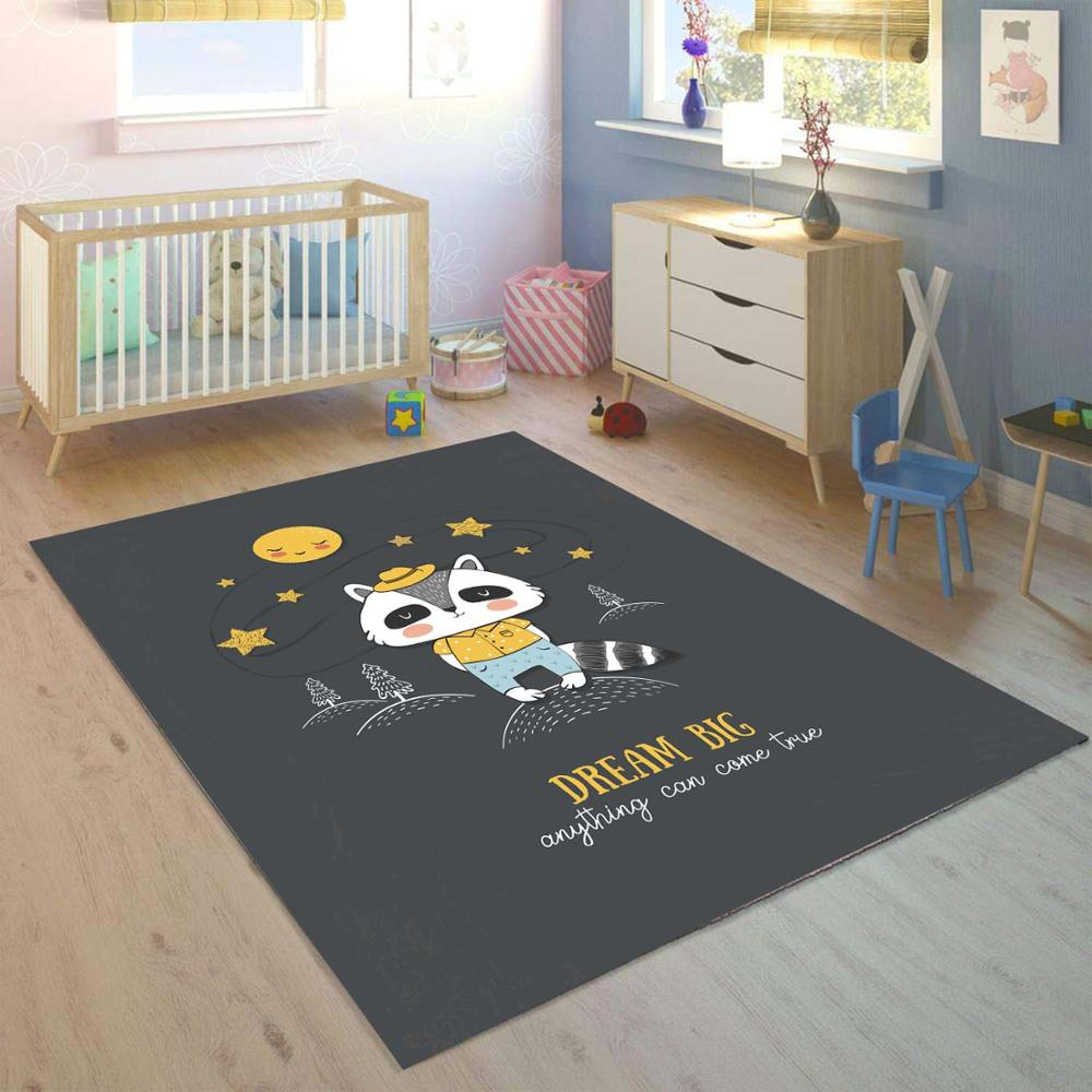 Else Yellow Moon Stars Funny Animal  3d Print Non Slip Microfiber Children Kids Room Decorative Area Rug Mat