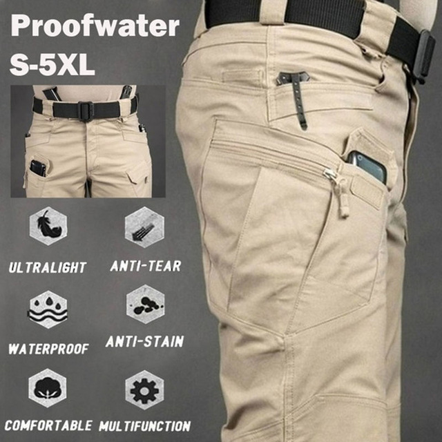 Men Casual Cargo Pants Elastic Outdoor Hiking Trekking Army Tactical Sweatpants Camouflage Military Multi pocket Trousers S-6XL