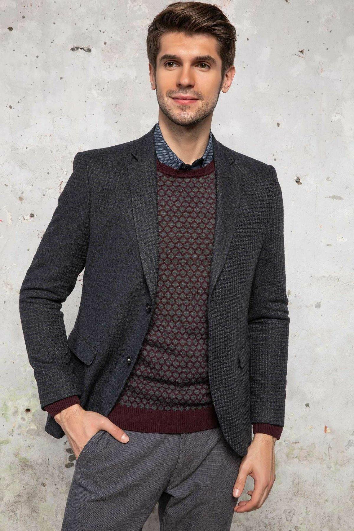 DeFacto Men Autumn Spring Formal Blazer Smart Casual Mens Slim Fit Blazer Business Blazer Suits Top Cloth-J4656AZ18WN
