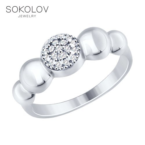 SOKOLOV Ring With Cubic Silver Fashion Jewelry 925 Women's Male