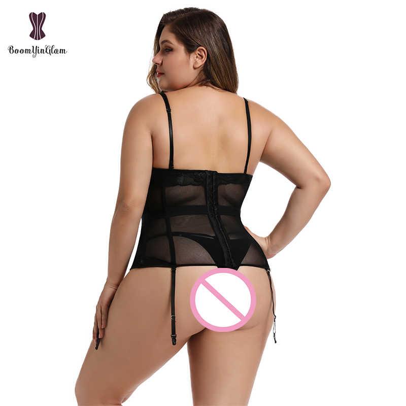 בתוספת גודל מחוך הלבשה תחתונה תחרה עד בגד גוף לנשים רצועה ללא משענת מחוך Bowknot מחוכים וbustiers עם כתפיות 944 #