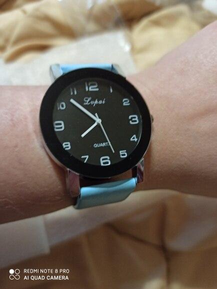 Women Quartz Watch PU Leather Band Black Dial Analog Wrist Watch Women Bracelet Watches Crystal Clock Gift zegarek damski #35 photo review