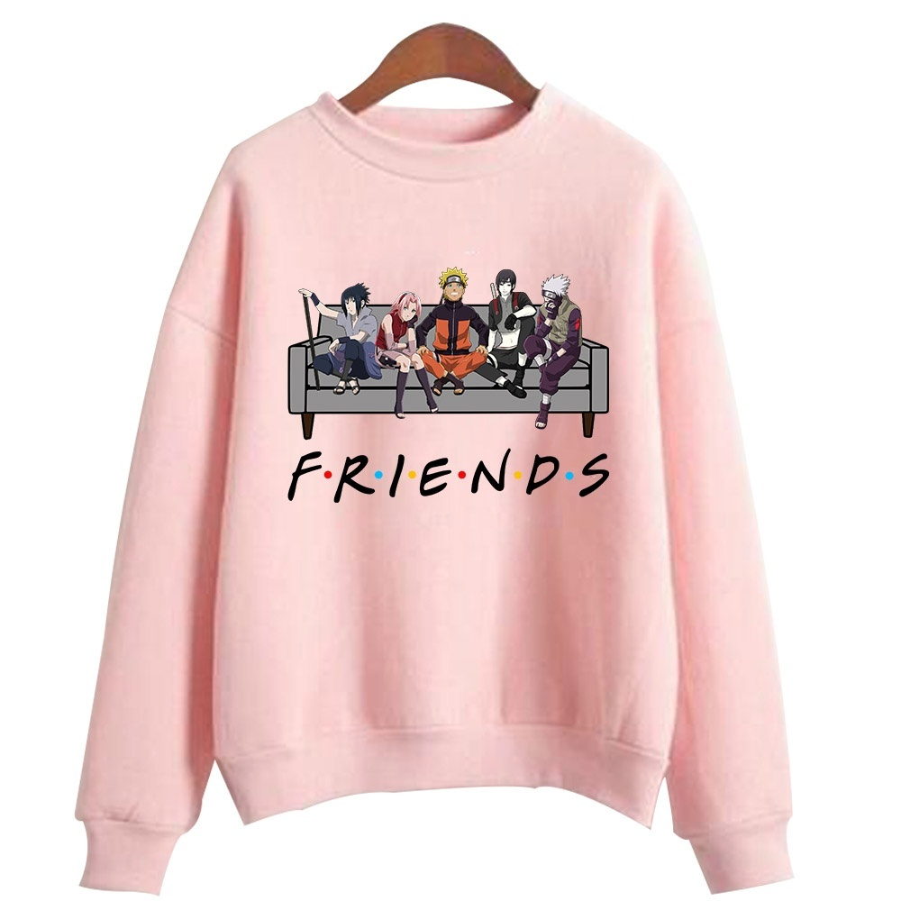 Naruto Friends Printed Sweatshirts Cotton Cozy Sweaters For Women Femme