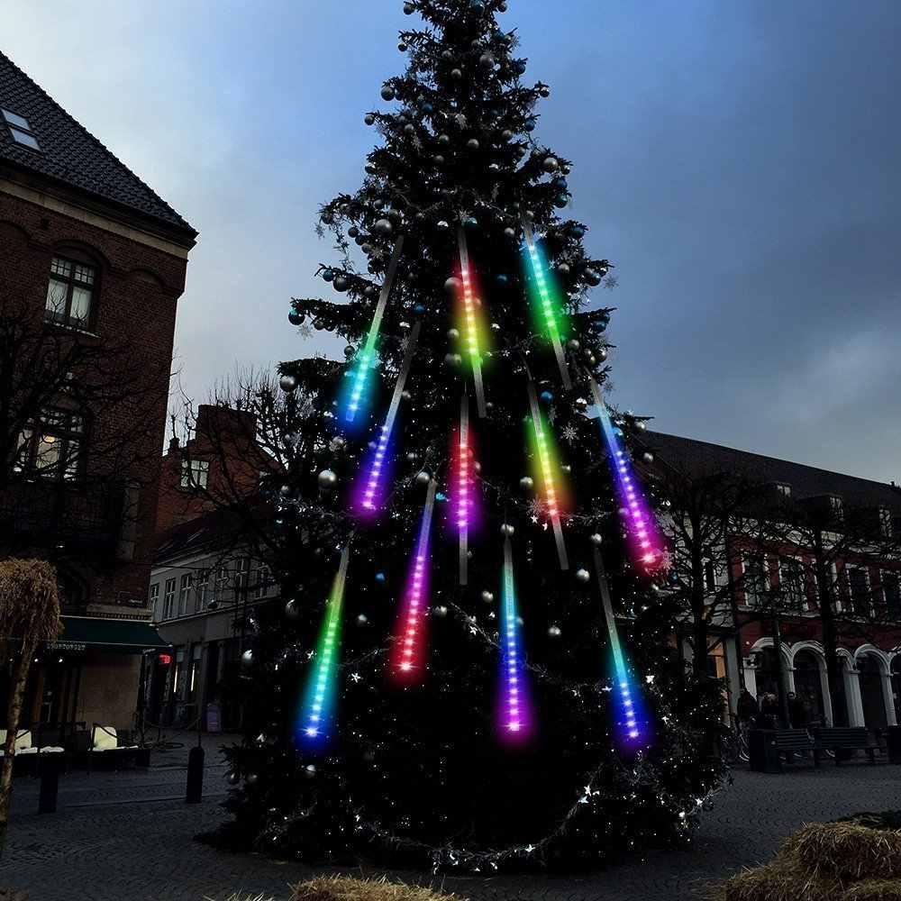 Stella Cadente Di Natale.Luci Di Natale Da Esterno Multicolor Led Effetto Pioggia Stella Cadente Meteoriti Tubo 45cm Aliexpress