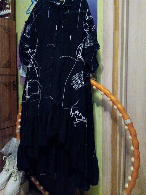 Women Summer Plus Size Long Black Retro Casual Shirt Dress Ruffle Irregular Stripes Print Ladies Party Club Dress Robe photo review