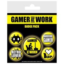 Set pin badge 5 Gamer at Work Gaming