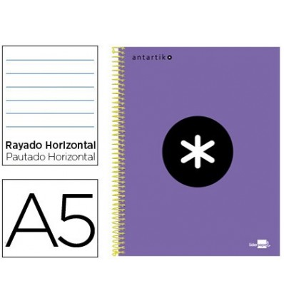 SPIRAL NOTEBOOK LEADERPAPER A5 MICRO ANTARTIK LINED TOP 120H 100 GR HORIZONTAL 5 BANDS 6 DRILLS VIOLET COLOR
