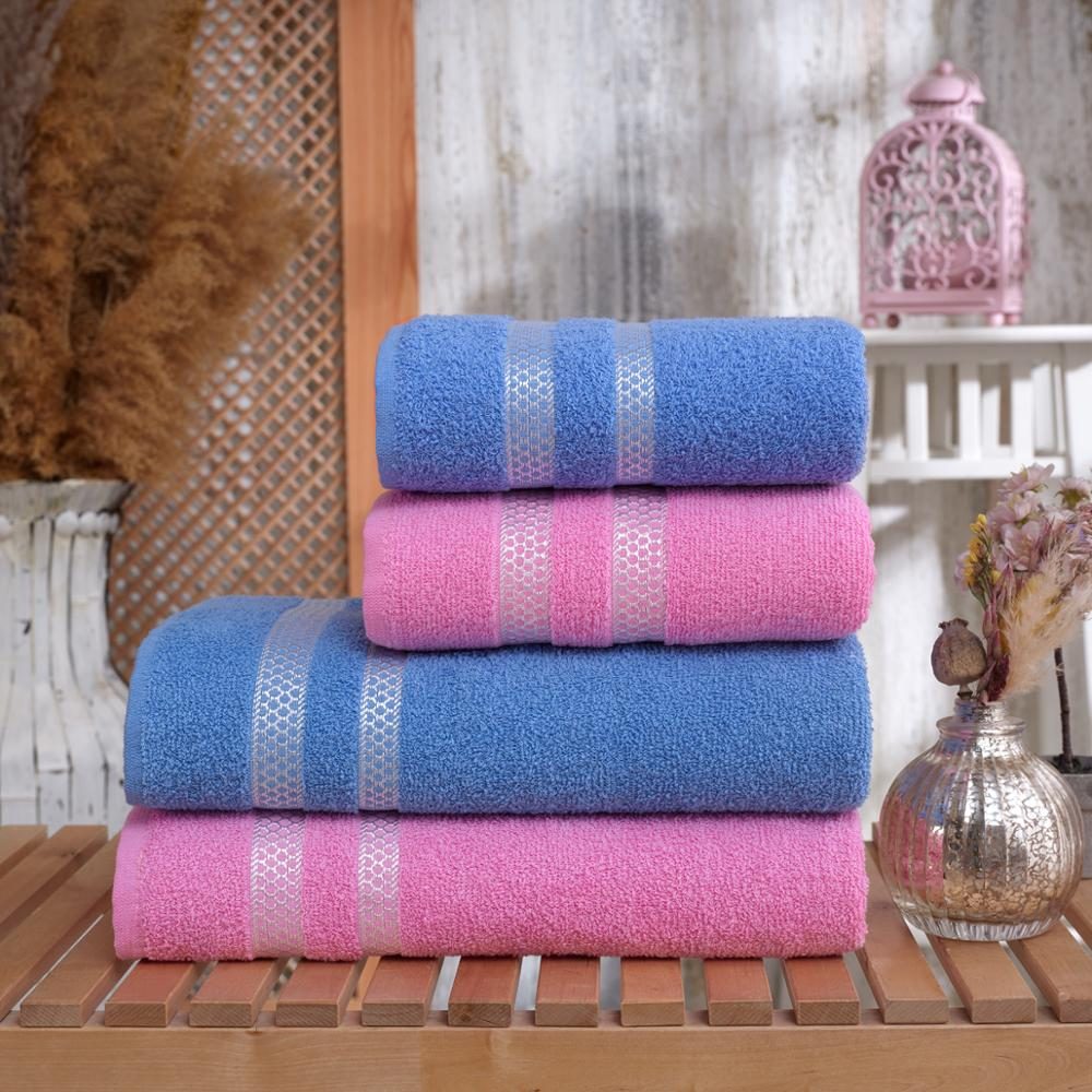 100% Cotton 2 pcs Bath Towels and 2 pcs Hand Towels Set|Pink&Blue|Hotel & Spa Quality, Highly Absorbent Turkish Towels