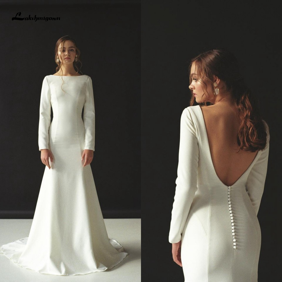 Lakshmigown Stylish Satin Mermaid Long Sleeves Wedding Dresses 2020 Robe De Mariee Elegant Bridal Gowns Backless Custom Made