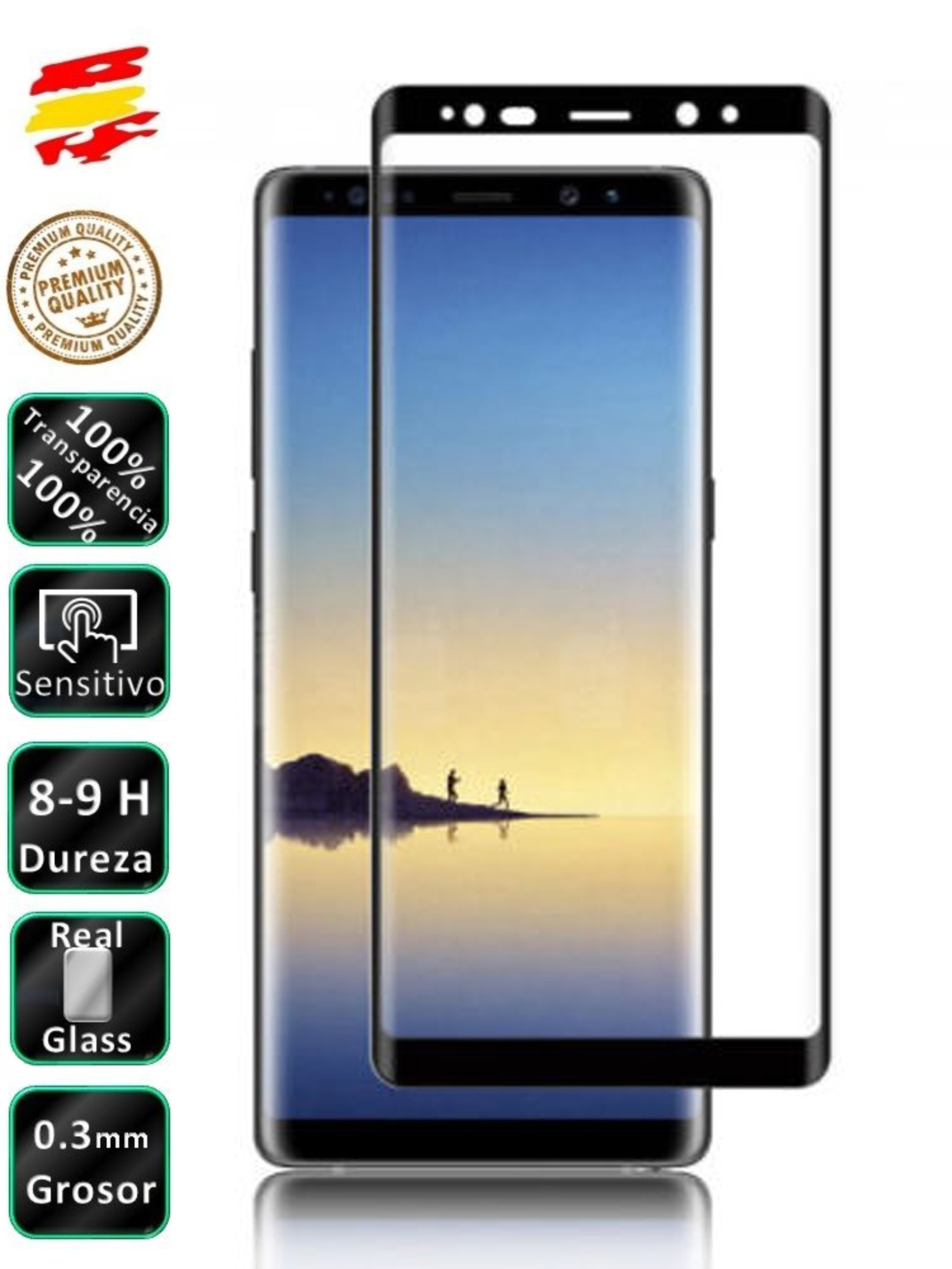 Protector Samsung Galaxy Note 8 Black Full 3D Tempered Glass Screen