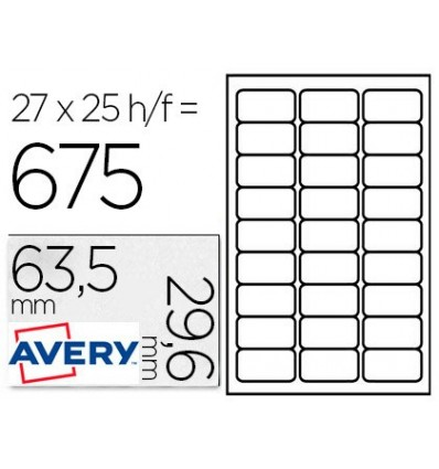 STICKER AVERY REMOVABLE ECOLOGICA 63,5X29,6 MM LASER PACK OF 25 UNITS