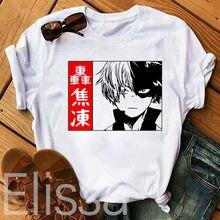 Shoto Todoroki – t-shirt My Hero Academia pour femme, estival et estival, avec imprimé Harajuku, Anime japonais