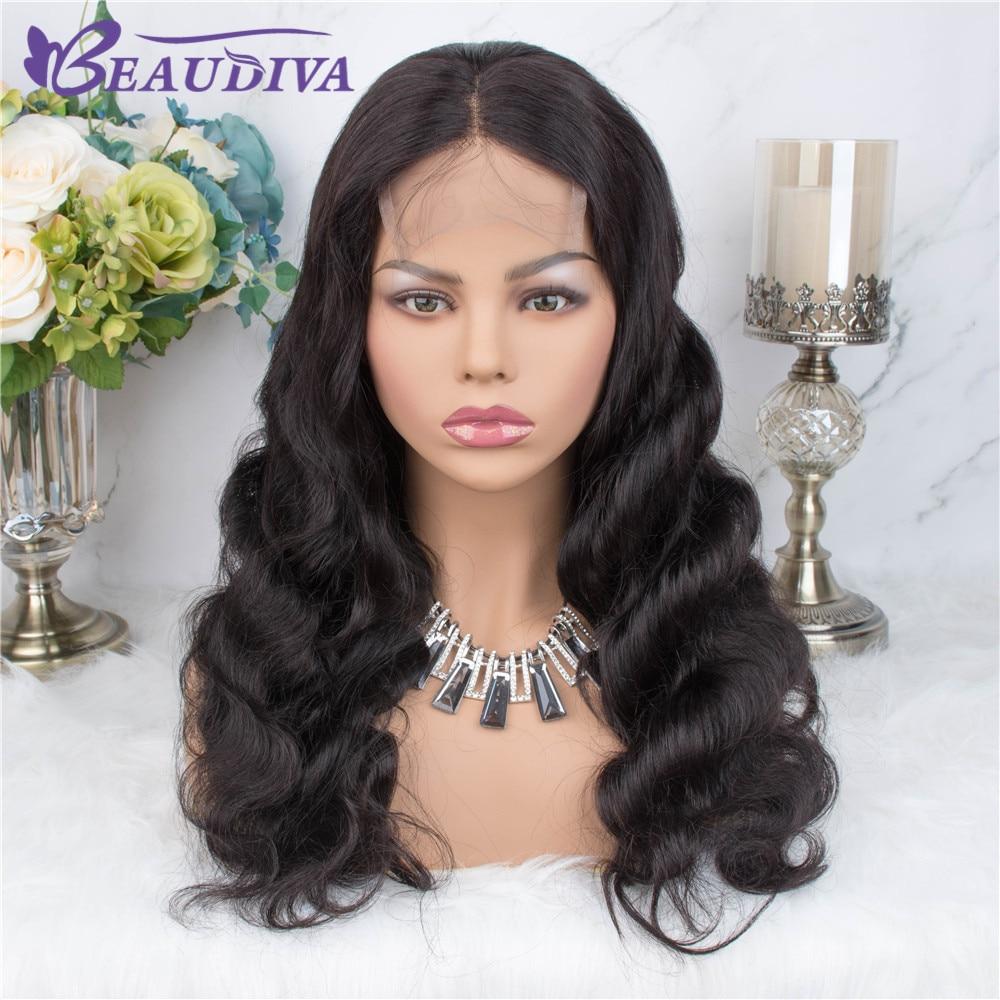 Beaudiva 4*4 fechamento do laço perucas de cabelo humano para mulheres negras peruca malaia do fechamento do laço da onda do corpo com bebê 8-24 Polegada