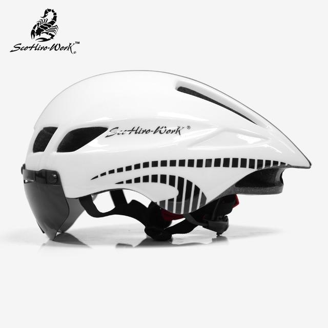 Capacete de bicicleta dos homens casco ciclismo estrada mtb mountain bike triathlon tt ciclismo capacete lente óculos equipa da bicicleta 4