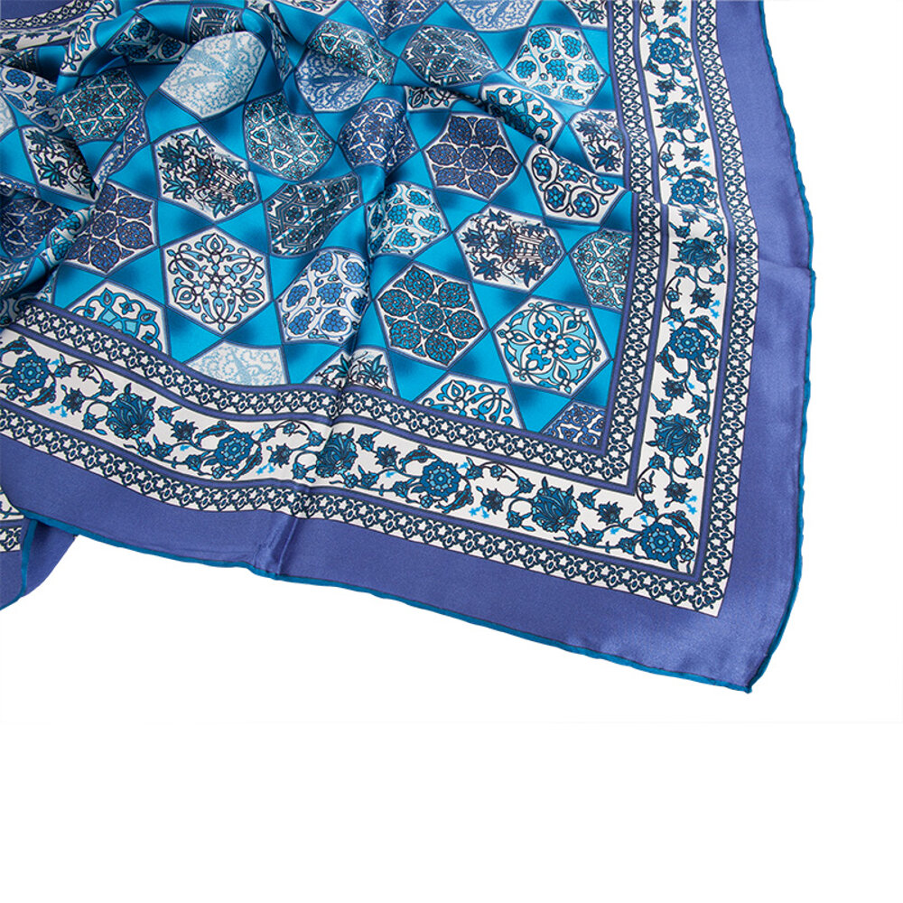 Biggdesign Ottoman Silk Satin Scarf, Ethnic Pattern, 90x90 Cm, Blue Color