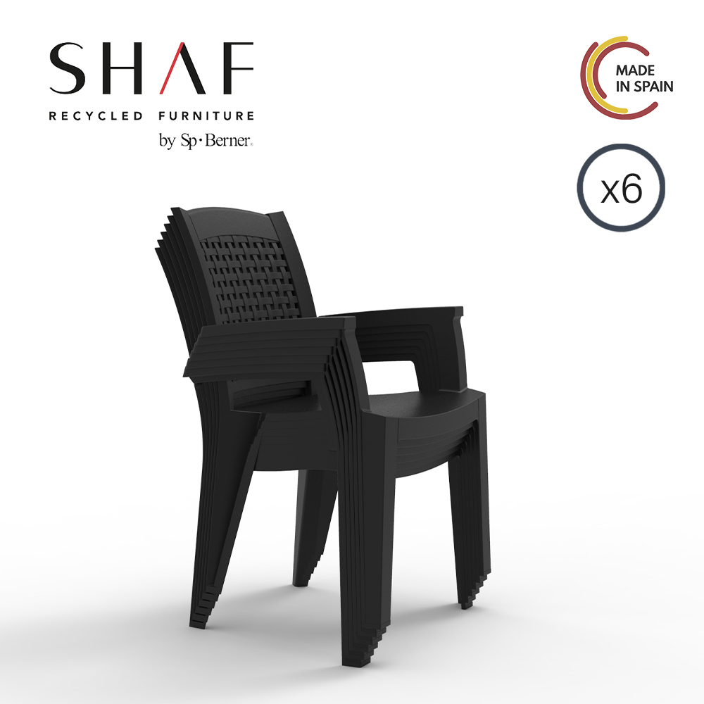 SHAF - Pack 6 Sillas Metal, ideal for garden, terrace or any outside in color antracite