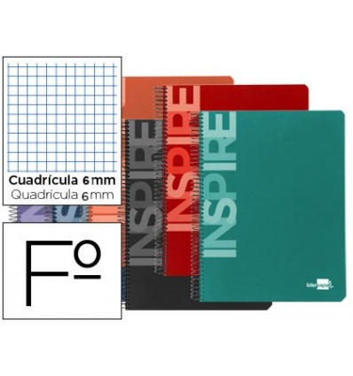 SPIRAL NOTEBOOK LEADERPAPER FOLIO INSPIRE HARDCOVER 80H 60 GR TABLE 6MM MARGIN ASSORTED COLORS 10 Pcs
