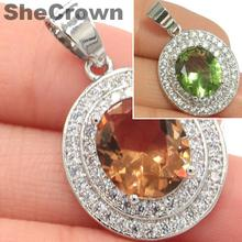 30x18mm Luxury Oval Color Changing Spinel Natural CZ Woman's Silver Pendant