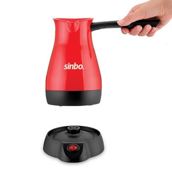 Sinbo SCM 2948 stalowy elektryczny dzbanek do kawy czerwony turecki ekspres do kawy 5 filiżanek 1000W 400 ml tanie i dobre opinie TR (pochodzenie) Mały Rozmiar STAINLESS STEEL SCM 2932 220-240 v
