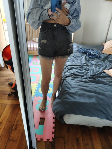 Ripped Hole Fringe Denim Gray Shorts Women Casual Pocket Jeans Shorts Summer Female Hot Shorts photo review