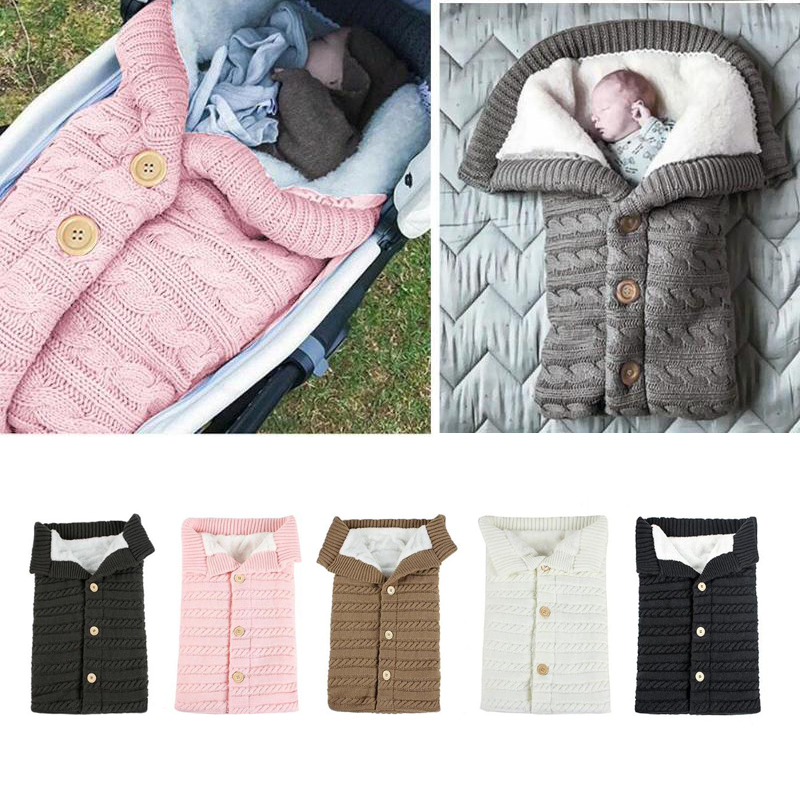 Winter Autumn Warm Newborn Baby Knitting Sleeping Bags Soft Infant Newborn Baby Products Blanketsable  Sleepsack Fleece Blanket