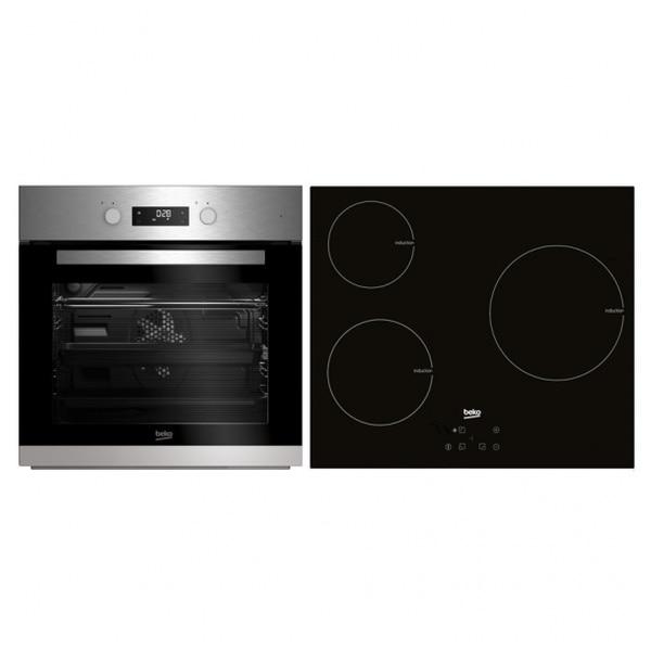 Forno combinado e vidro-placa de cerâmica beko bse22341x 65 l aço inoxidável preto (3 áreas de cozinha)