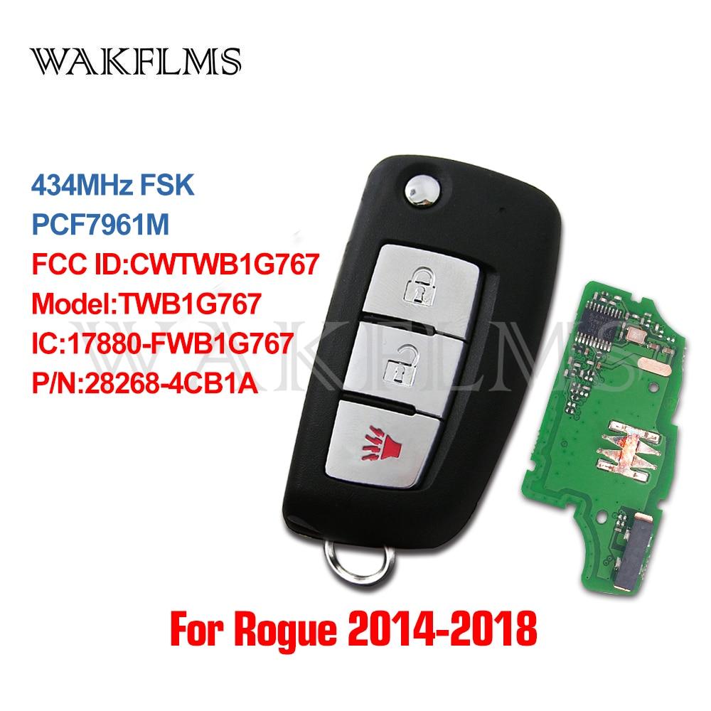 3btn пульт дистанционного флип автомобильный брелок 434 МГц для Nissan Rogue 2014 с PCF7961M чип CWTWB1G767 TWB1G767 28268 4CB1A-in Ключ авто from Автомобили и мотоциклы