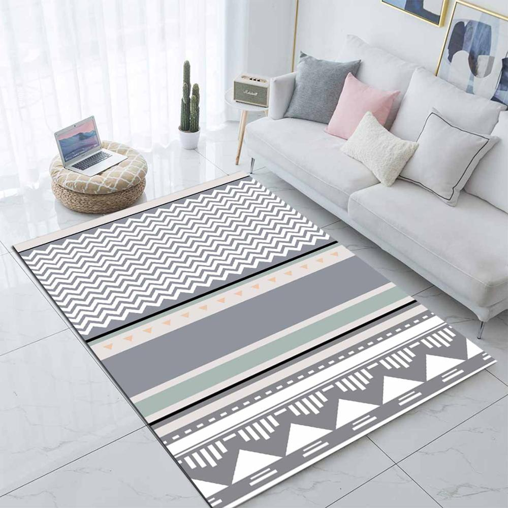 Else Gray White Green Boho Nordec Scandinavian 3d Print Non Slip Microfiber Living Room Decorative Modern Washable Area Rug Mat