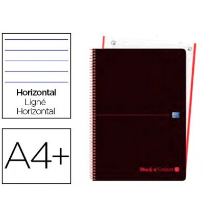 SPIRAL NOTEBOOK OXFORD EBOOK 1 PLASTIC CAP DIN A4 + 80 H HORIZONTAL BLACK'N COLORS NETWORK 5 PCs