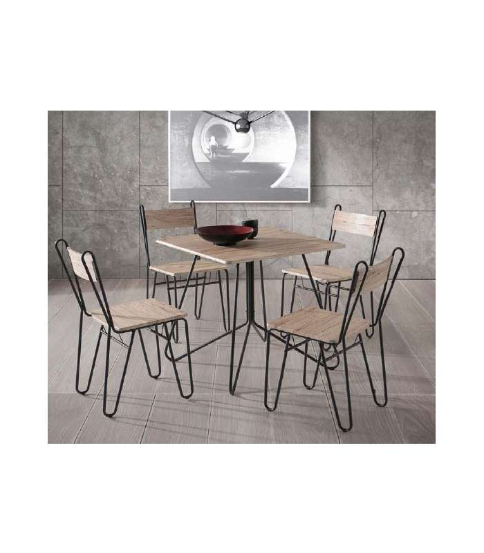 Set kitchen Lisbon square table and 4 chairs.   - title=