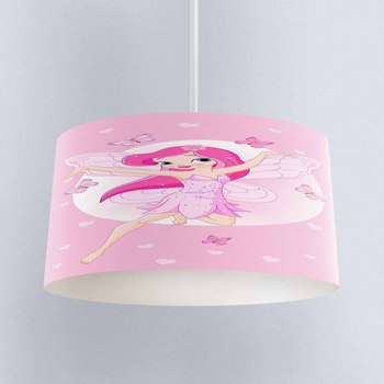 Else Pink Fairy Girls Butterfly Hearts Print Fabric Kids Chandelier Lamp Drum Lampshade Floor Ceiling Pendant Light Shade