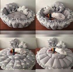 Jaju детский серый облачный всплывающий игровой коврик Babynest игровой коврик детское гнездо, прикроватный, детский шезлонг, портативная детска...