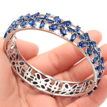 74x14mm Luxury 27.6g European style Created Tanzanite Gift For Woman's Silver Bangle Bracelet 7.5