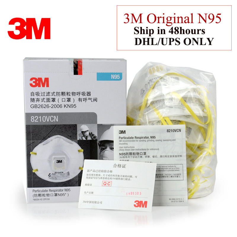 10pcs/pack 3M 8210V N95 Masks Coolflow Valve Particles Respirator Mask PM2.5 Dust Mask  Respiratory Protection LT047